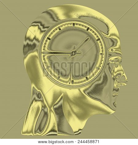 Time Concept 3d Illustration: Human Head  And Time, Business Punctuality, Appointment Stress, Deadli