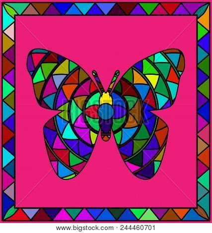 Abstract Colored Background Image Of Butterfly Consisting Of Lines And Figures