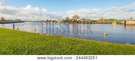 Panoramic View Over The Hollandse Ijssel At Capelle Aan Den Ijssel. The Photo Was Taken On A Sunny D