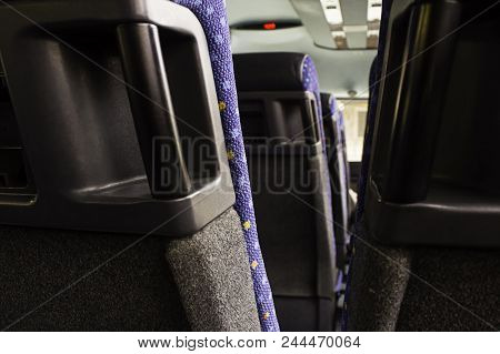 Modern Seats For People In A Bus, Detail Of Public Transportation