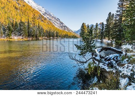 The Landscape With The River In Altai Mountains , In Autumn, Siberia, Altai Mountain Republic, Russi