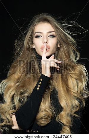 Hairstyle Hairdressing Concept. Sensual Girl With Wavy Shiny Hair. Sexy Blonde Woman With Natural Pe