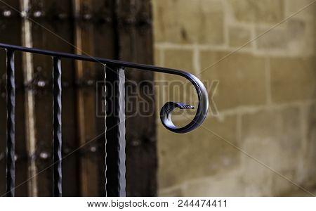 Old Metal Forging Railing, Detail Of Medieval Decoration