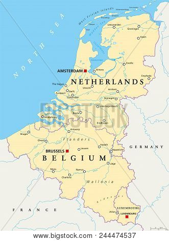 Benelux. Belgium, Netherlands And Luxembourg. Political Map With Capitals, Borders And Important Cit