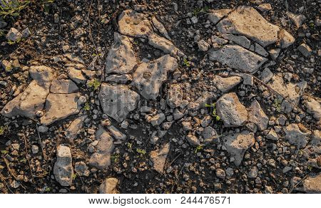 Ground And Stones. Natural Background. Stony Ground. Rock  Background