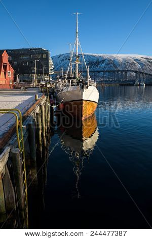 Nice Sailing Ship In The Harbor Of Tromsø On A Sunny Morning, Tromsø, Norway