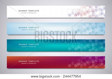 Science, Medical And Digital Technology Header Or Banners. Geometric Abstract Background With Hexago