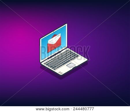 Email Banner. Isometric Vector Illustration. Laptop With Opened Envelope With Letter. Internet Messa