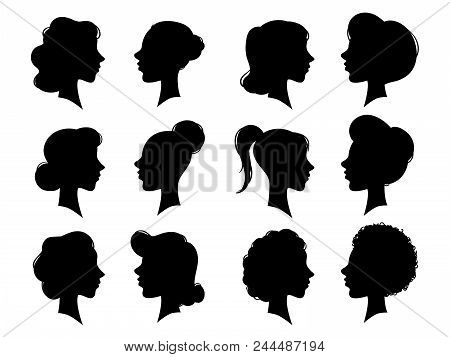 Adult And Young Womans Vintage Side Faces Silhouette. Woman Face Profile Or Side Female Head Silhoue