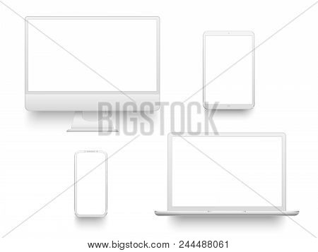 White Desktop Computer Display Screen Smartphone Tablet Portable Notebook Or Laptop. Outline Mockup