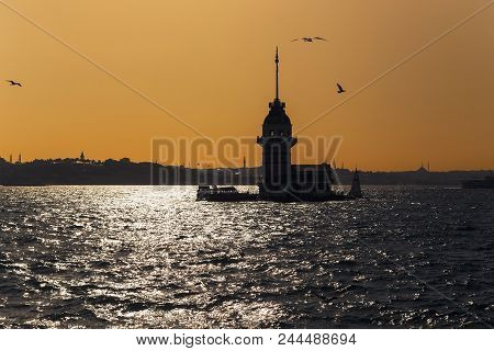 Istanbul, Turkey - September 12, 2017: It Is The Symbol Of The City - The Maiden Tower - In The Back