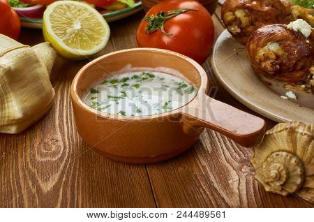 Tzatziki. Traditional Greek Dip Saucegreek  Cuisine , Traditional Assorted Dishes, Top View.