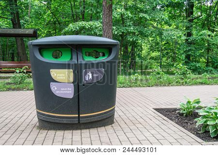 Urban Waste Separate Collection System. Dumpster Contemporary Design. Modern Smart Collection Waste.