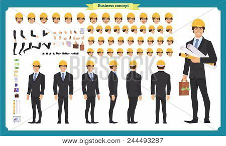 Male Architect In Business Suit And Protective Helmet. Character Creation Set. Full Length, Differen