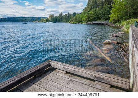 A View Of The Shoreline At Gene Coulon Park In Renton, Washington.