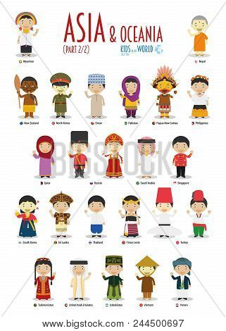 Kids And Nationalities Of The World Vector: Asia And Oceania Set 2 Of 2. Set Of 24 Characters Dresse