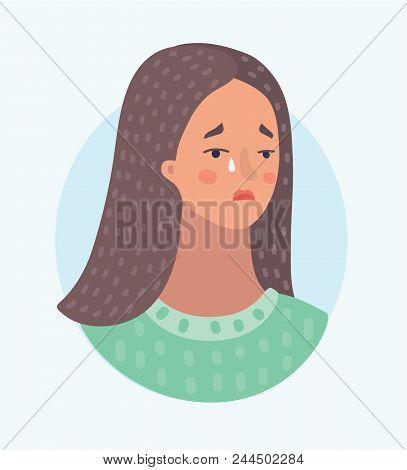 Vector Cartoon Illustration Of Pitiful Crying Woman Female Sad Face Sorrow Expression. Depression Gi