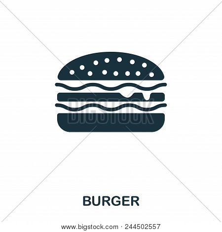 Burger Icon. Mobile Apps, Printing And More Usage. Simple Element Sing. Monochrome Burger Icon Illus