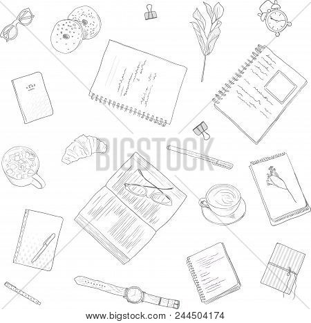 Seamless Pattern. Work Notes, Background Studying, Creative Lifestyle. Hand Drawn Illustration In Wo