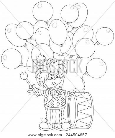 Funny Circus Clown Beating His Drum, Black And White Vector Illustration In A Cartoon Style For A Co