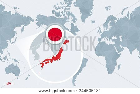 World map centered on america vector photo bigstock world map centered on america with magnified japan blue flag and map of japan gumiabroncs Image collections