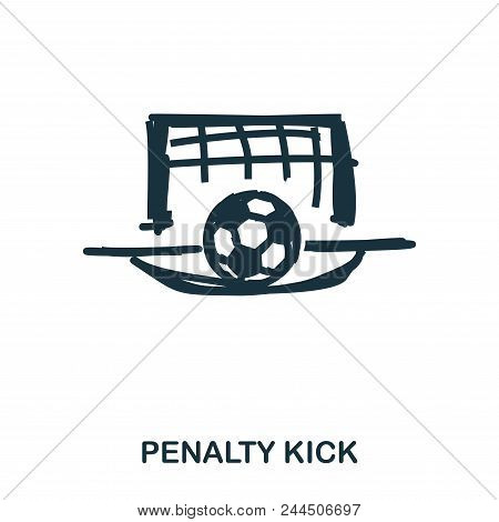 Penalty Kick Icon. Mobile Apps, Printing And More Usage. Simple Element Sing. Monochrome Penalty Kic