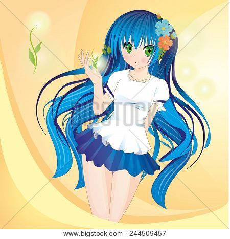 Anime Style Girl With Blue Hair And Green Eyes On Bright Yellow Background