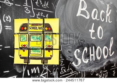 Collage Of Back To School Background With Title Back To School And School Bus Written On The Yellow