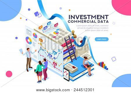 Finance And Commercial Investment Analysis Work. Seal Concept On Official Documents Clipart. Infogra