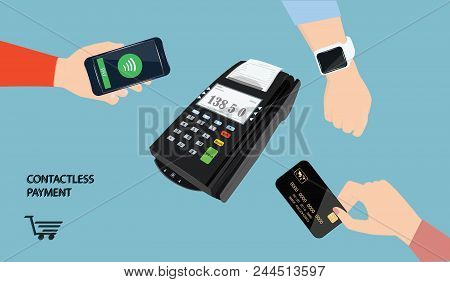 Contactless Payments Set Payment Terminal And Hands With Smartwatch On The Wrist, Smartphone, Credit