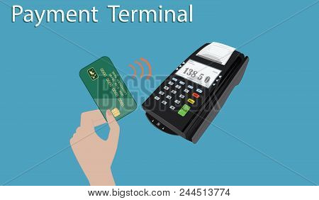 Payment Terminal For Mobile Payment Service - Hand With Bank Card - Flat Style - Art Vector