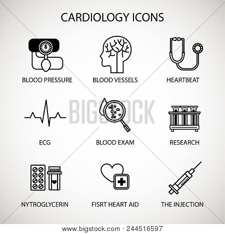 Vector Illustration Concept. Medical Cardiology Vector Icon Set. Special Medical Objects And Equipme