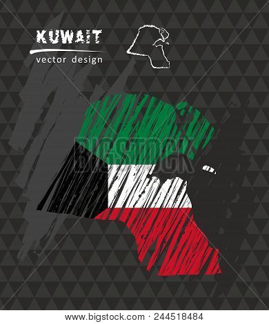 Kuwait National Vector Map With Sketch Chalk Flag. Sketch Chalk Hand Drawn Illustration