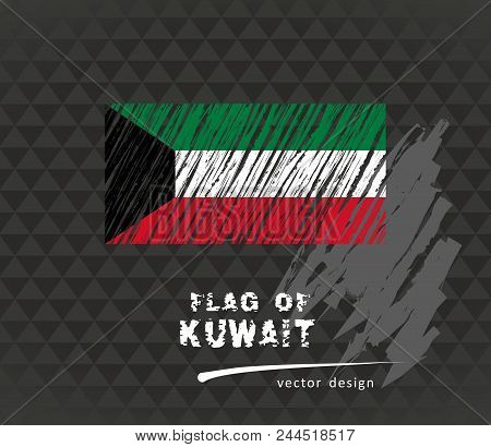 Kuwait Flag, Vector Sketch Hand Drawn Illustration On Dark Grunge Background