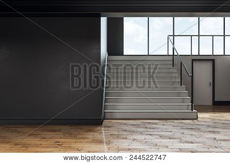 Dark Concrete School Hallway Interior With Copy Space On Wall, Stairs And Window With Sky View And D