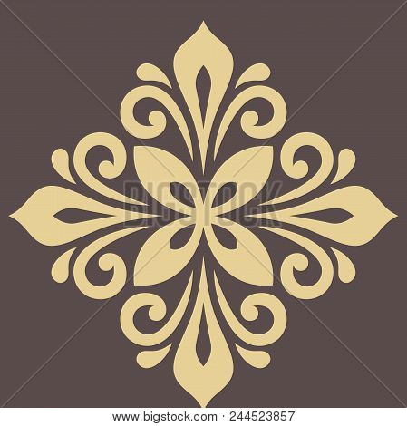 Oriental Pattern With Arabesques And Floral Elements. Traditional Classic Ornament. Vintage Golden P