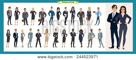 Set Of Business Characters Working In Office. Isolated Vector Design. International Business Team. G