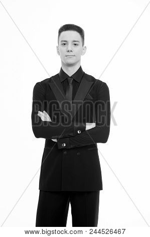 Guy On Confident Face Dressed In Formal Luxury Suit Posing With Posture. Man Dancer Of Ballroom Danc