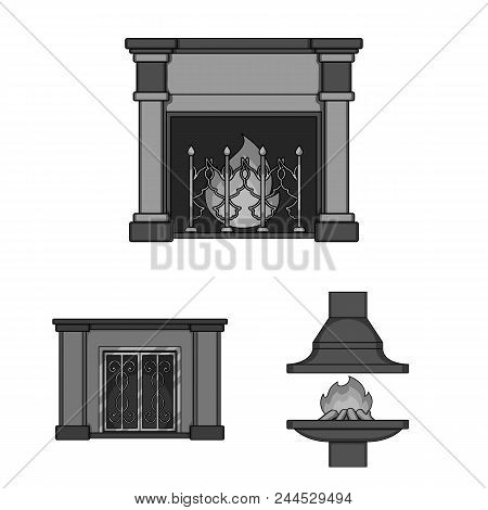 Different Kinds Of Fireplaces Monochrome Icons In Set Collection For Design.fireplaces Construction