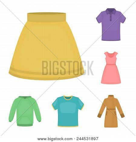 Different Kinds Of Clothes Cartoon Icons In Set Collection For Design. Clothes And Style Vector Symb