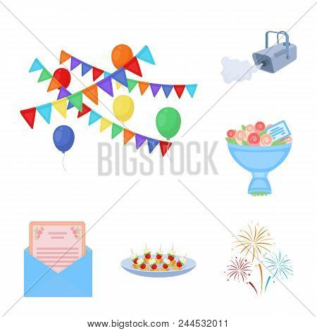 Event Organisation Cartoon Icons In Set Collection For Design.celebration And Attributes Vector Symb
