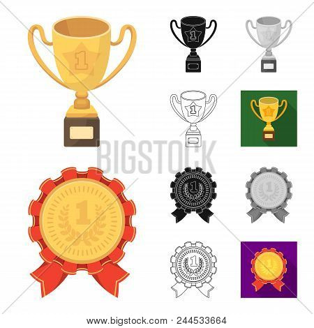 Awards And Trophies Cartoon, Black, Flat, Monochrome, Outline Icons In Set Collection For Design.rew