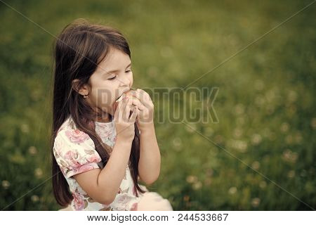 Child Eats An Apple With Pleasure. Diet Food For Child, Healthy Nutrition. Diet, Dieting Concept.
