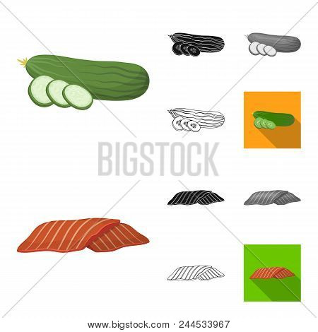 Burger And Ingredients Cartoon, Black, Flat, Monochrome, Outline Icons In Set Collection For Design.