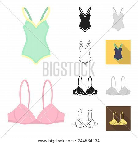 Clothes And Accessories Cartoon, Black, Flat, Monochrome, Outline Icons In Set Collection For Design