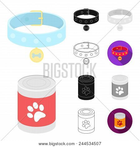 Pet Dog Cartoon, Black, Flat, Monochrome, Outline Icons In Set Collection For Design. Caring For The