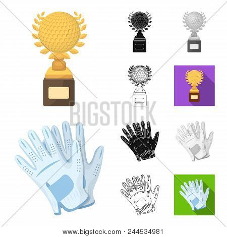 Golf And Attributes Cartoon, Black, Flat, Monochrome, Outline Icons In Set Collection For Design.gol