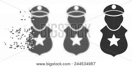 Grey Vector Guard Man Icon In Dispersed, Pixelated Halftone And Undamaged Solid Variants. Rectangle