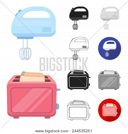 Types Of Household Appliances Cartoon, Black, Flat, Monochrome, Outline Icons In Set Collection For