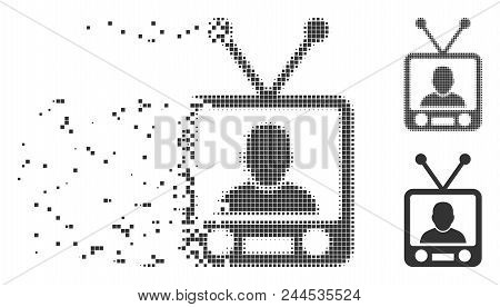 Gray Vector Tv News Icon In Dissolved, Dotted Halftone And Undamaged Solid Variants. Square Dots Are